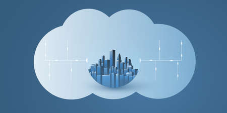 Smart City, Cloud Computing Design Concept with Transparent Globe, Cityscape and Cloud - Digital Network Connections, Technology Background