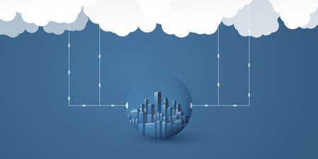 Smart City, Cloud Computing Design Concept with Transparent Globe, Cityscape and Clouds - Digital Network Connections, Technology Background - Monochrome, Retro Style Иллюстрация