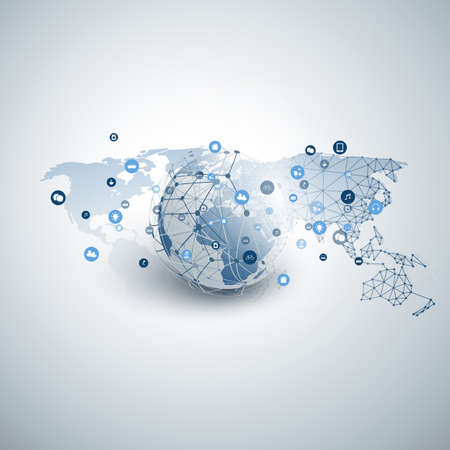 Internet of Things, Cloud Computing Design Concept with Wireframe, Earth Globe and Icons - Global Digital Network Connections, Smart Technology Concept