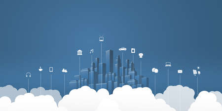 Smart City, Cloud Computing Design Concept with Icons, Cityscape and Clouds - Digital Network Connections, Technology Background - Monochrome, Retro Style Vettoriali
