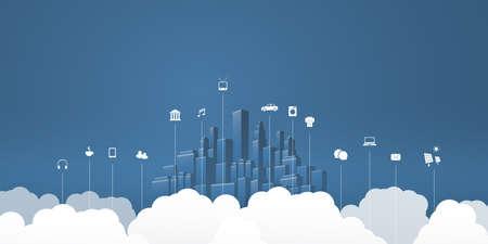Smart City, Cloud Computing Design Concept with Icons, Cityscape and Clouds - Digital Network Connections, Technology Background - Monochrome, Retro Style Ilustração Vetorial