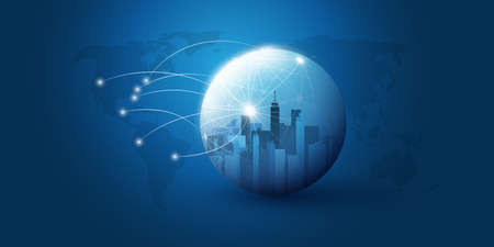 Smart City, Cloud Computing Design Concept with Transparent Globe and Wireframe - Digital Network Connections, Technology Background