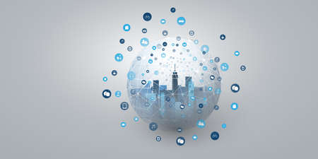 Smart City, Cloud Computing Design Concept with Transparent Globe and Icons - Digital Network Connections, Technology Background