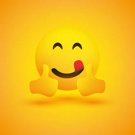 Smiling Emoticon on Yellow Background - Simple Happy Emoticon with Smiling Eyes and Outstretched Tongue Showing Thumbs Up - Vector Design Concept Çizim