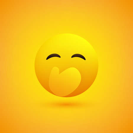 Hand Over Mouth - Embarrassed Laughing Emoticon with Closed Eyes - Simple Emoticon on Yellow Background - Vector Design Illustration