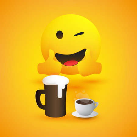 Beer and Coffee - Smiling and Winking Emoticon Showing Thumbs Up - Simple Shiny Happy Emoticon with Beer Mug and Coffee Cup on Yellow Background - Vector Design