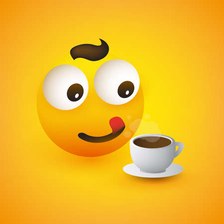Smiling Emoticon with a Cup of Coffee, Pop Out Eyes and Outstretched Tongue - Simple Shiny Happy Emoticon on Yellow Background - Vector Design Çizim