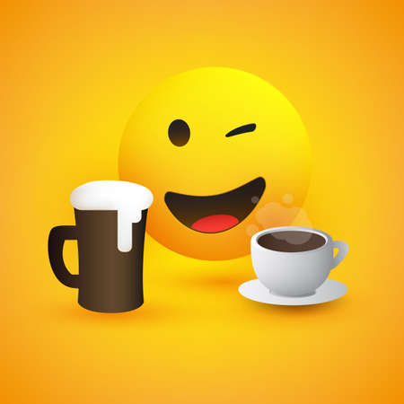 Beer and Coffee - Smiling and Winking Emoticon - Simple Shiny Happy Emoticon with Beer Mug and Coffee Cup on Yellow Background - Vector Design