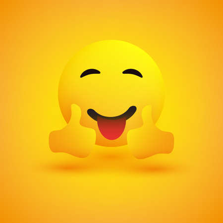Smiling Emoticon on Yellow Background - Simple Happy Emoticon with Outstretched Tongue Showing Thumbs Up - Vector Design Concept