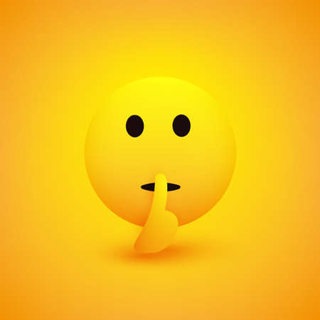 Serious Looking  Shushing Face Showing Make Silence Sign - Emoticon  with Open Eyes on Yellow Background - Vector Design Illustration