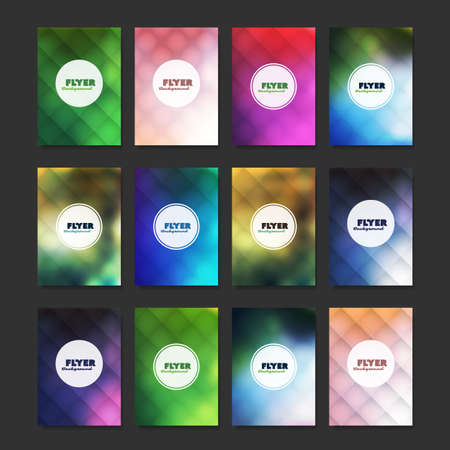 Mega Set of 12 Flyer, Card or Banner Designs with Abstract Colorful Minimalist Geometric Pattern Backgrounds, Multi Purpose Templates Banque d'images - 149389654