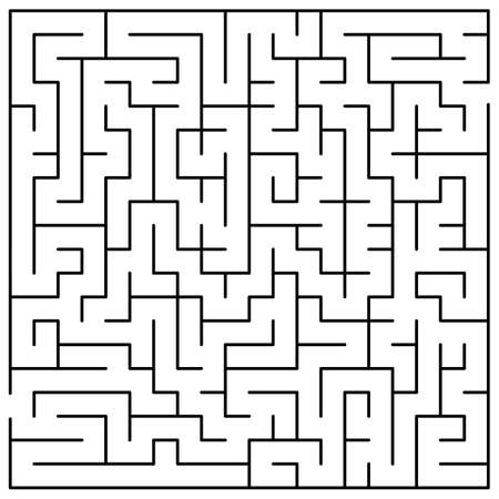 Original Black Labyrinth on White Background - Simple Illustration with a Maze - Pattern for Educational Magazines, Newspapers, Books Banque d'images - 148821734