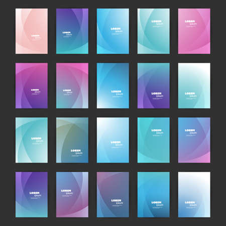 Mega Set of 20 Flyer, Card or Banner Designs with Abstract Blue, Purple and Green Colored Minimalist Geometric Pattern Backgrounds, Multi Purpose Templates Banque d'images - 149389657