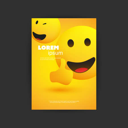 Flyer, Cover, Card or Banner Design with Smiling, Simple Happy Emoticon Showing Thumbs Up on Yellow Background - Multi Purpose Template