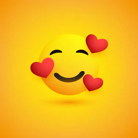 Smiling Face With Hearts on Yellow Background - Emoticon Vector Design Banque d'images - 148918218