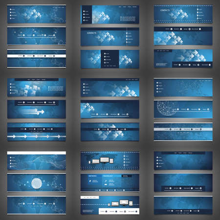 Mega Set of 27 Business Header, Card or Banner Designs with Arrows, Icons on Dark Blue Backgrounds, Multi Purpose Templates Vektorové ilustrace