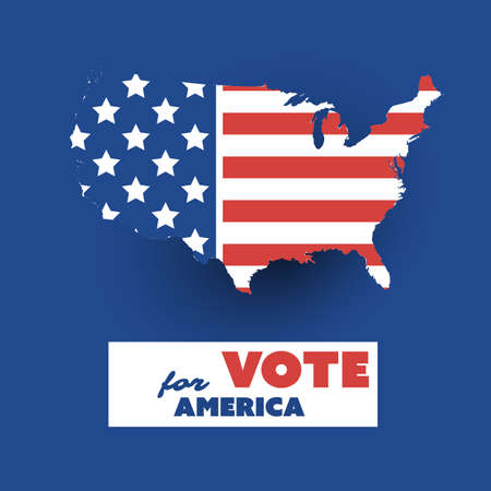 USA Voting Design Concept with US Flag Pattened Map Illustration