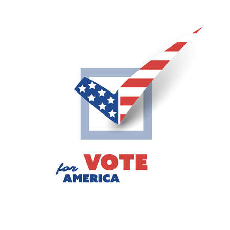 USA Voting Encouragement Design Concept with Tick Illustration