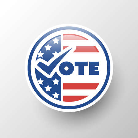 USA Voting Design Concept - Badge Style with Tick and US National Colors