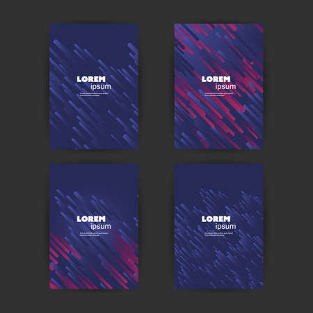 Set of 4 Flyer, Card or Banner Designs with Abstract Phantom Blue and Purple Colored Minimalist Geometric Pattern Backgrounds, Multi Purpose Templates Banque d'images - 149389664
