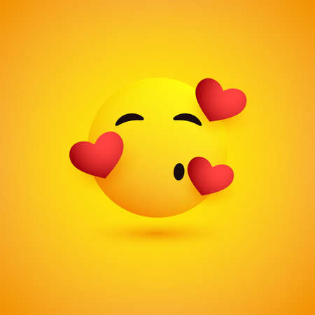 Smiling and Kissing Face With Hearts on Yellow Background - Emoticon Vector Design Illustration