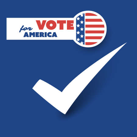 USA Voting Design Concept with Tick Sign on a Blue Background Illustration