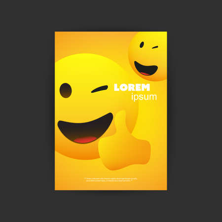 Flyer, Cover, Card or Banner Design with Smiling, Simple Happy Emoticon Showing Thumbs Up on Yellow Background - Multi Purpose Template Banque d'images - 149389666