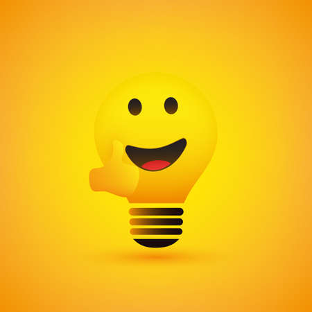 Smiling Light Bulb Emoticon with Thumbs Up - Simple Shiny Happy Emoticon on Yellow Background - Vector Design Illustration
