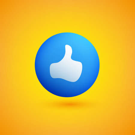 Thumbs Up Sign on Yellow Background - Emoticon Vector Design