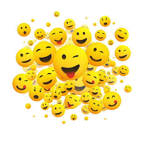 Various Faces, Emoticons - Lots of Laughing, Smiling, Winking Emoticons, 3D Vector Concept Illustration on White Background Banque d'images - 149121671