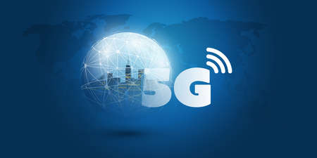 Futuristic Global 5G Mobile Networks Concept with Glowing Nodes on Wireframe Globe - High Speed, Broadband Mobile Telecommunication and Wireless Internet Design Concept Illustration