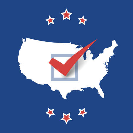 USA Voting Design Concept with Tick on a US Map