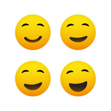 Smiling and Winking Emoticon Set - Simple Shiny Happy Emoticons Clip-Art, Isolated on White Background - Vector Design Banque d'images - 149312880