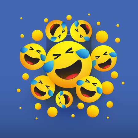Faces with Tears of Joy - Laughing Crying Emoticons in Front of a Smartphone Screen, Vector Concept Illustration