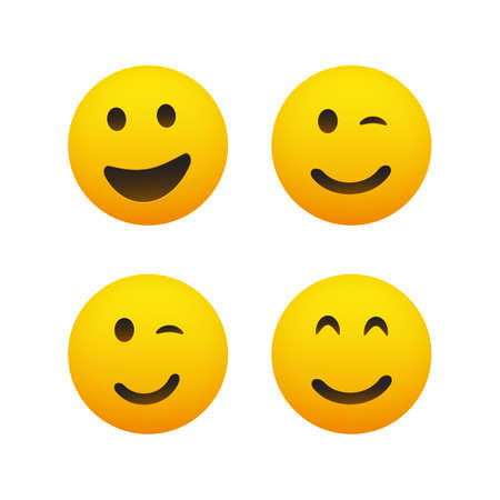 Smiling and Winking Emoticon Set - Simple Shiny Happy Emoticons Clip-Art, Isolated on White Background - Vector Design