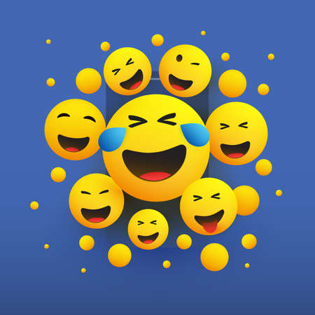 Various Faces with Tears of Joy - Laughing Crying Emoticons in Front of a Smartphone Screen, Vector Concept Illustration
