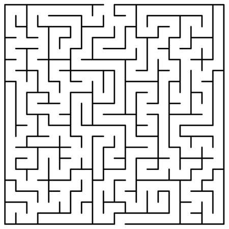 Original Black Labyrinth on White Background - Simple Illustration with a Maze - Pattern for Educational Magazines, Newspapers, Books Banque d'images - 149500045