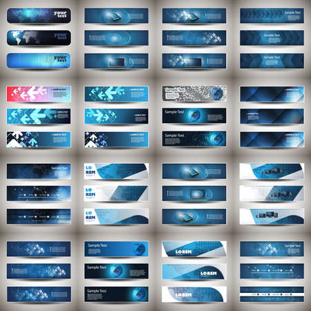 Mega Set of 48 Business Header, Card or Banner Designs with Arrows, Icons on Blue Backgrounds, Multi Purpose Templates Illustration