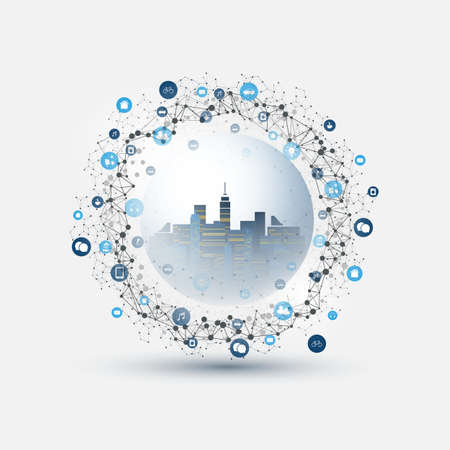 Futuristic Smart City, IoT and Cloud Computing Design Concept with Polygonal Mesh, Cluster and Nodes - Digital Network Connections, Technology Background Banque d'images - 149837091