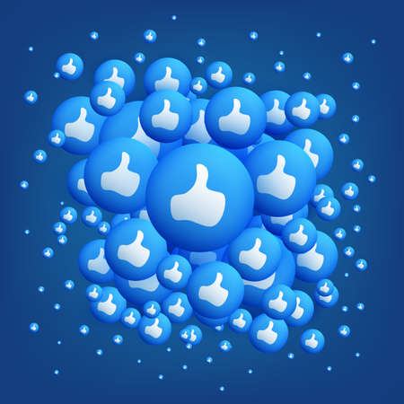 Lots of Like Buttons, Thumbs Up Signs on Blue Background - Emoticon Vector Design Banque d'images - 149673323