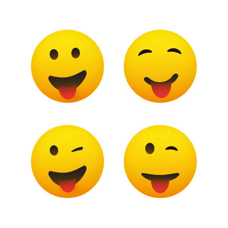 Set of Smiling and Winking Emoticons with Stuck Out Tongue - Simple Shiny Happy Emoticon Clip-Art, Isolated on White Background - Vector Design