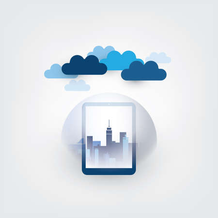 Smart City, Cloud Computing Design Concept with Transparent Globe and Cityscape - Digital Network Connections, Technology Background Banque d'images - 149837092