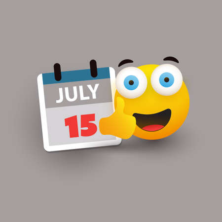 Tax Day Reminder Concept with Emoticon - Calendar Design Template - USA Tax Deadline, New Extended Date for IRS Federal Income Tax Returns: 15 July 2020 Banque d'images - 149837093