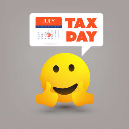 Tax Day Reminder Concept with Emoticon - Calendar Design Template - USA Tax Deadline, New Extended Date for IRS Federal Income Tax Returns: 15 July 2020 Banque d'images - 149837094