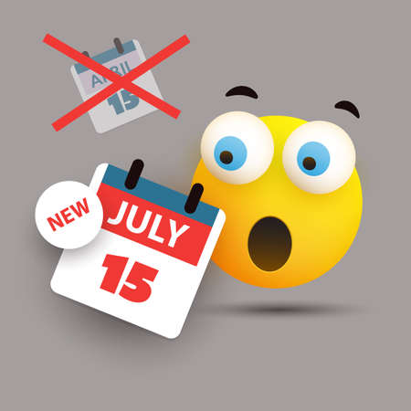 Tax Day Reminder Concept with Emoticon - Calendar Design Template - USA Tax Deadline, New Extended Date for IRS Federal Income Tax Returns: 15 July 2020 Banque d'images - 149837095