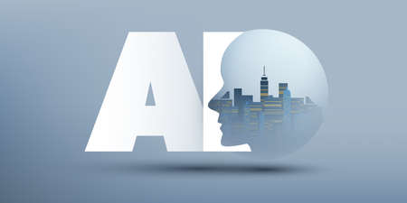 Smart City, Automated Digital Control, Deep Learning, Artificial Intelligence and Future Technology Concept Design with Cityscape in a Globe, and Human Head - Vector Illustration Banque d'images - 149854159