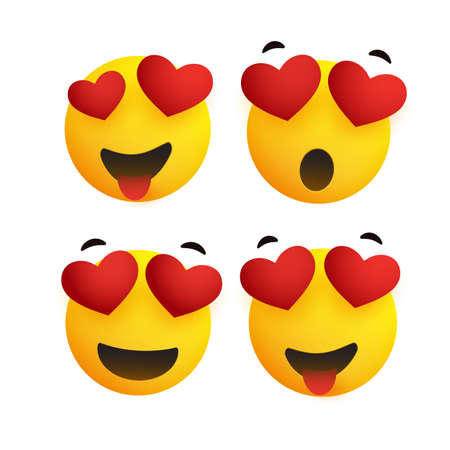 Smiling Faces With Heart Shaped Eyes - Simple Shiny Happy Emoticons Clip-Art, Isolated on White Background - Vector Design Banque d'images - 149853910