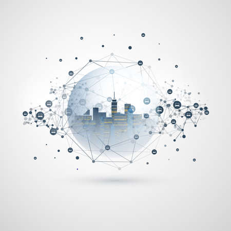 Futuristic Smart City, IoT and Cloud Computing Design Concept with Polygonal Mesh, Cluster and Nodes - Digital Network Connections, Technology Background Banque d'images - 150126999