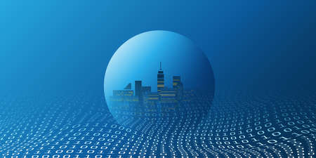 Futuristic Smart City, IoT and Cloud Computing Design Concept with Transparent Globe and Binary Code Pattern - Digital Network Connections, Technology Background Banque d'images - 149854460