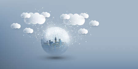 Smart City, Cloud Computing Design Concept with Transparent Globe and Cityscape - Digital Network Connections, Technology Background Banque d'images - 150127000